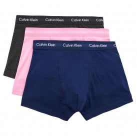 Cotton Stretch 3 Pack Trunk, Med Blue / Sweetheart / Charcoal