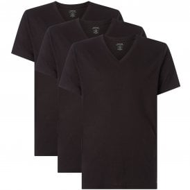 Cotton 3-Pack Short Sleeved V-Neck T-Shirt, Black