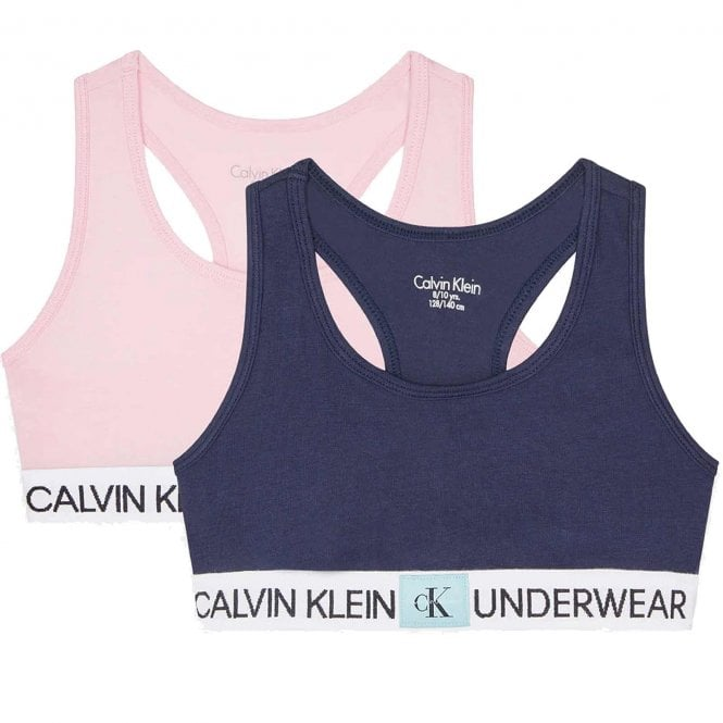 Calvin Klein GIRLS 2 Pack CK Minigram Bralette, Unique/Black Iris