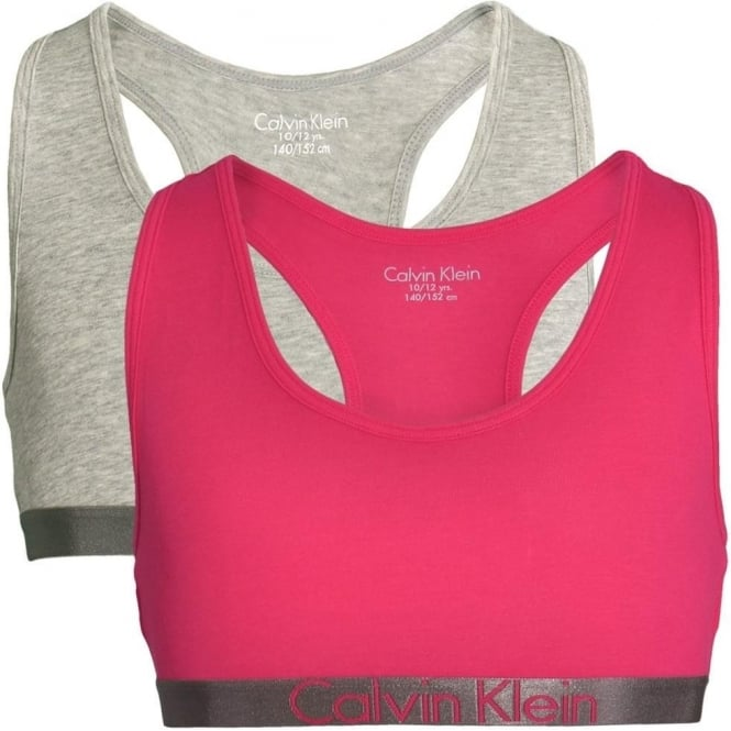 Calvin Klein GIRLS 2 Pack Customized Stretch Bralette, Heather Grey / Rose Red