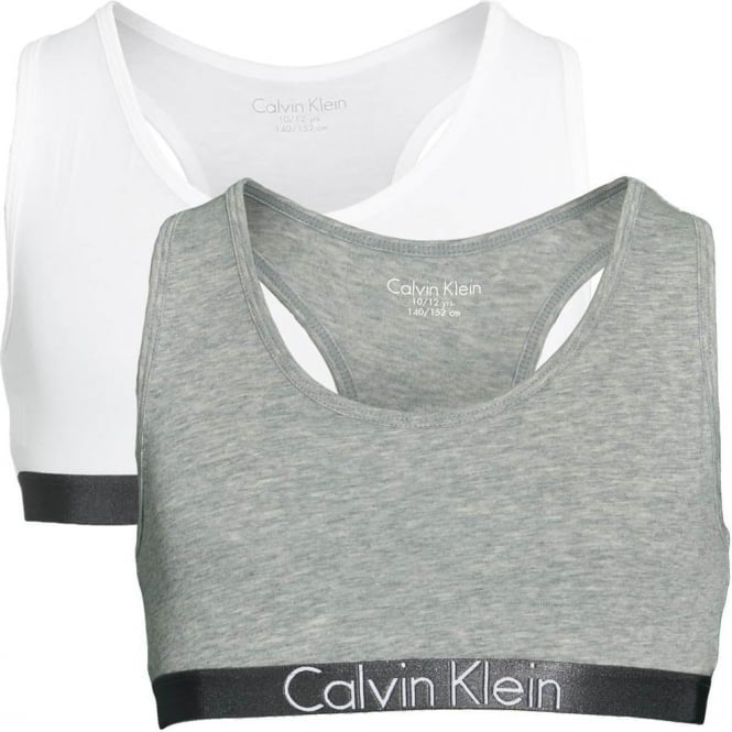 Calvin Klein GIRLS 2 Pack Customized Stretch Bralette, Heather Grey / White