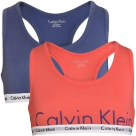 GIRLS 2 Pack Modern Cotton Bralette, Calypso Coral / Coastal Fjord