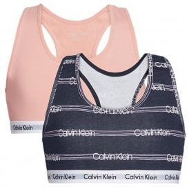 GIRLS 2 Pack Modern Cotton Bralette, Flamingo Pink / Glitch Stripe