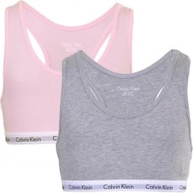 GIRLS 2 Pack Modern Cotton Bralette, Pink/Grey