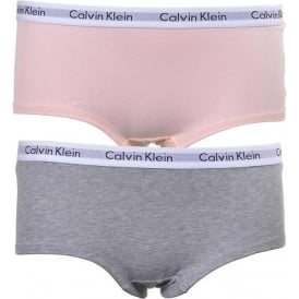 GIRLS 2 Pack Modern Cotton Shorty Brief, Pink/Grey