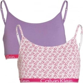 GIRLS 2 Pack Modern Cotton String Bralette, White Logo Print / Chalk Violet