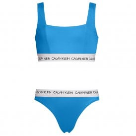 GIRLS CK LOGO-SWIM Bralette / Bikini Set, Blue Aster