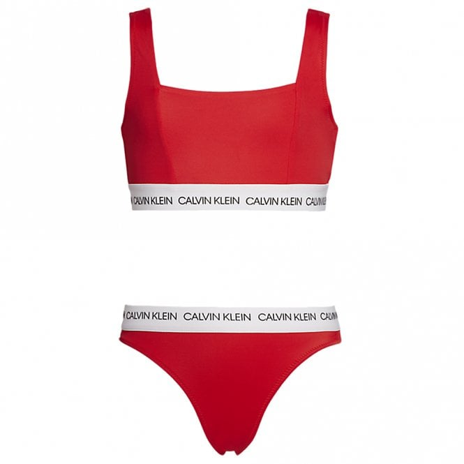 Calvin Klein GIRLS CK LOGO-SWIM Bralette / Bikini Set, High Risk