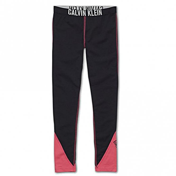 Calvin Klein Girls Intense Power Leggings, Black / Pink Panels