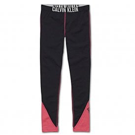 Girls Intense Power Leggings, Black / Pink Panels