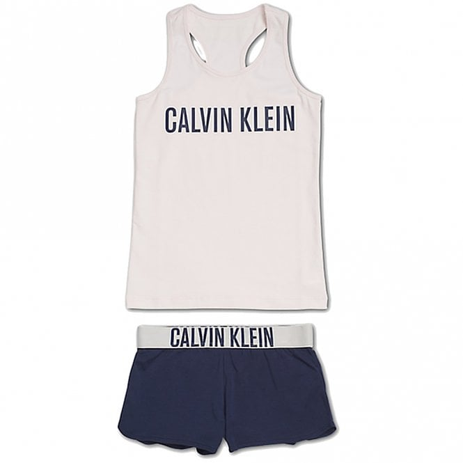 Calvin Klein Girls Intense Power PJ set, Shrinking Violet / Blue Shadow