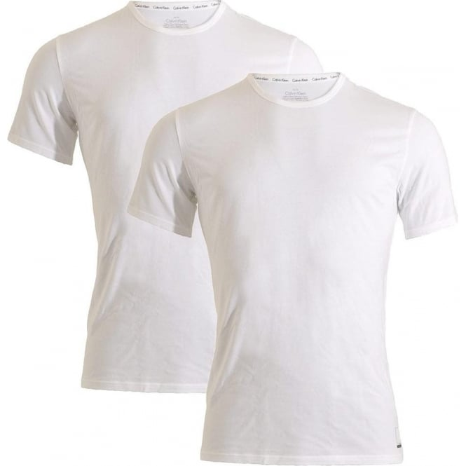 Calvin Klein ID Cotton Short Sleeved Slim Fit Crew Neck T-Shirt 2-Pack, White