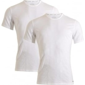 ID Cotton Short Sleeved Slim Fit Crew Neck T-Shirt 2-Pack, White