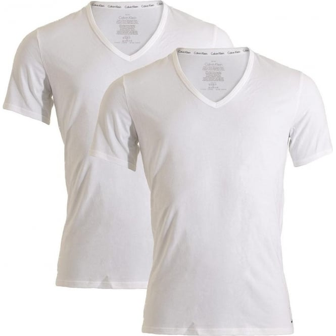 pretty cool official photos 2019 professional ID Cotton Short Sleeved Slim Fit V-Neck T-Shirt 2-Pack, White