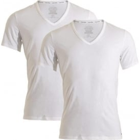 ID Cotton Short Sleeved Slim Fit V-Neck T-Shirt 2-Pack, White