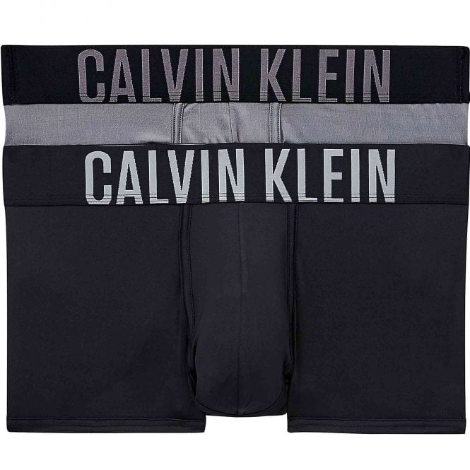 Calvin Klein Intense Power 2-Pack Low Rise Trunk, Black/Grey Sky