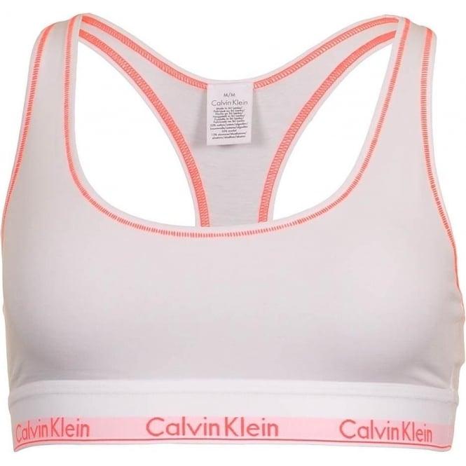 Calvin Klein Modern Cotton Bralette, White / Bright Nectar Trim