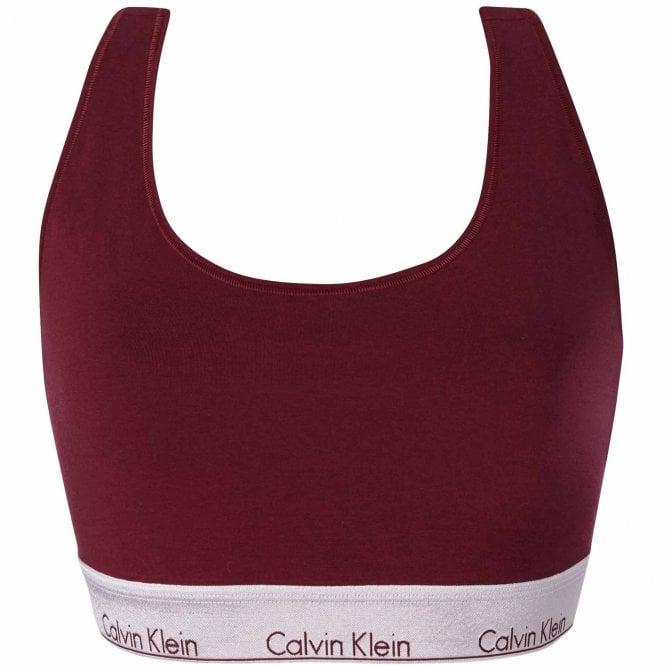 Calvin Klein Modern Cotton Plus Size Bralette, Lush Burgundy/Silver