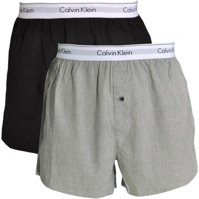 Calvin Klein Modern Cotton Slim Fit Woven Boxer 2-Pack, Black / Heather Grey