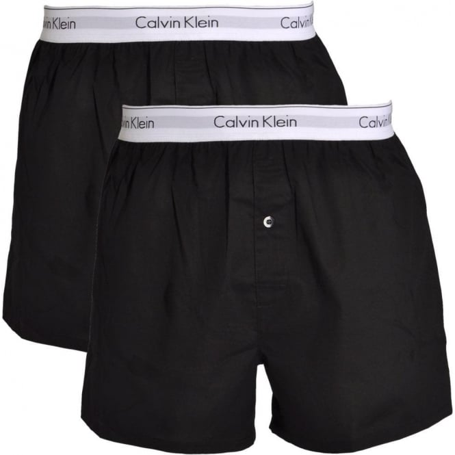 Calvin Klein Modern Cotton Slim Fit Woven Boxer 2-Pack Black d468740be
