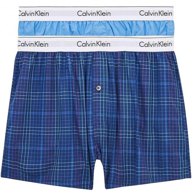 Calvin Klein Modern Cotton Slim Fit Woven Boxer 2-Pack, Blue Burst/Somerset Plaid