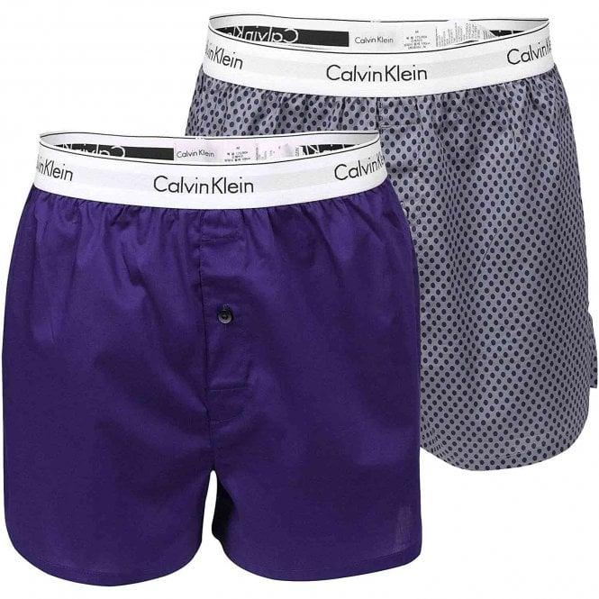 Calvin Klein Modern Cotton Slim Fit Woven Boxer 2-Pack, Ellipse Print Valiant/Valiant