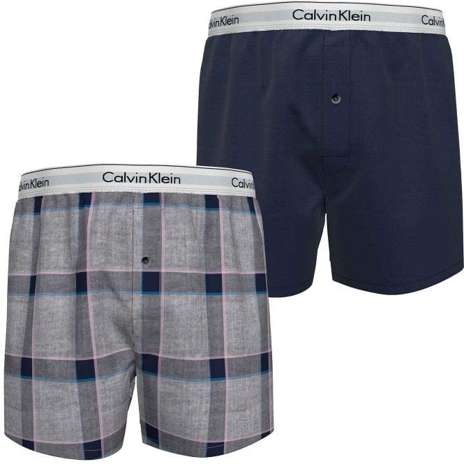 Calvin Klein Modern Cotton Slim Fit Woven Boxer 2-Pack, New Navy/Tinton Plaid