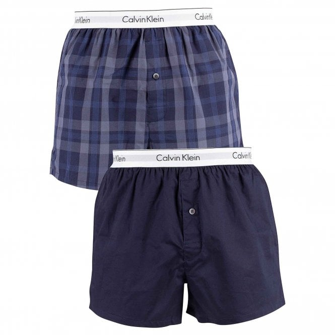 Calvin Klein Modern Cotton Slim Fit Woven Boxer 2-Pack, Verona Plaid Shoreline / Shoreline