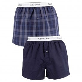 e3eabdd36ff5 Modern Cotton Slim Fit Woven Boxer 2-Pack, Verona Plaid Shoreline /  Shoreline. Calvin Klein ...