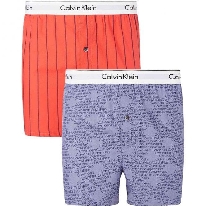 Calvin Klein Modern Cotton Slim Fit Woven Boxer 2-Pack, Wide Pinstripe/Cascading Logo