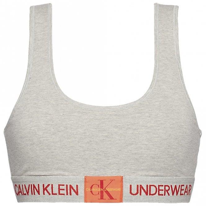 Calvin Klein Monogram Unlined Bralette, Heather Grey
