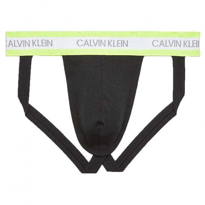 Calvin Klein Neon Cotton Stretch Jock Strap, Black / Yellow