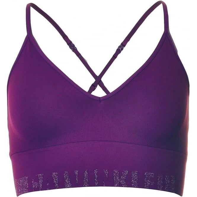 Calvin Klein Seamless Logo Bralette, Purple / Silver Lurex Logo