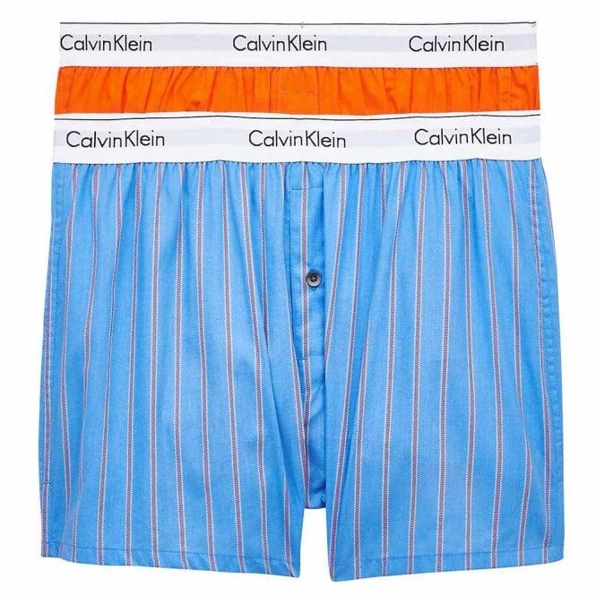 Calvin Klein Modern Cotton Slim Fit Woven Boxer 2-Pack, Orange Sherbert/Vero Stripe
