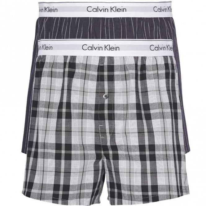 Calvin Klein Modern Cotton Slim Fit Woven Boxer 2-Pack, Ryan Stripe D Well/Hickory Plaid B