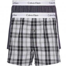 Modern Cotton Slim Fit Woven Boxer 2-Pack, Ryan Stripe D Well/Hickory Plaid B
