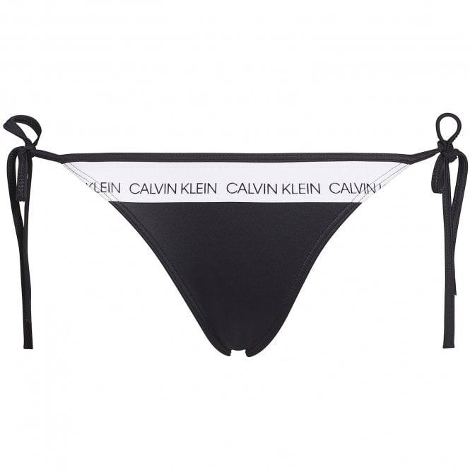 Calvin Klein Swimwear CK LOGO Side Tie Bottom, Black