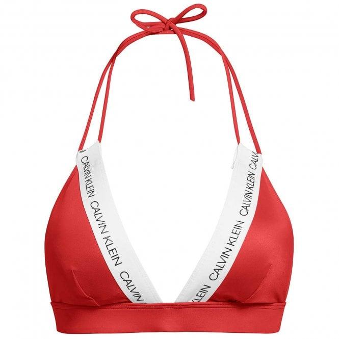 Calvin Klein Swimwear CK LOGO Triangle Bikini Top, Laras Lipstick