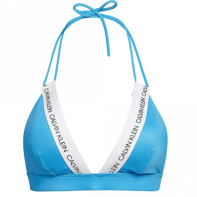 Calvin Klein Swimwear CK LOGO Triangle Bikini Top, Maldive Blue