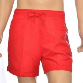 CK One Logo Tape Swim Shorts, Red