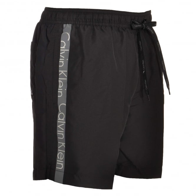 Calvin Klein Core Logo Tape Swim Shorts, Black