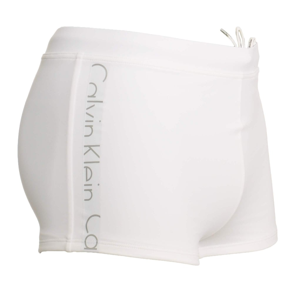 57eb5a44aa1 Calvin Klein Swimwear - Core Logo Tape Swim Trunks White