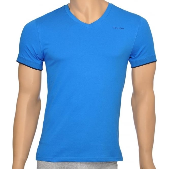 Calvin Klein Core Solid Short Sleeve V-Neck T-Shirt, Blue