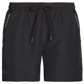 Medium Drawstring Swim Shorts, Black