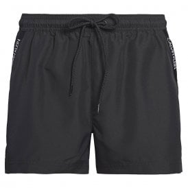 Short Drawstring Swim Shorts, Black