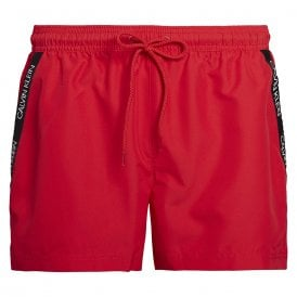Short Drawstring Swim Shorts, Lipstick Red