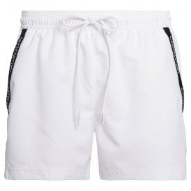 Short Drawstring Swim Shorts, White