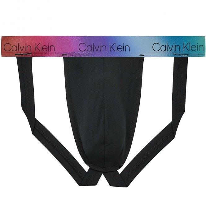 Calvin Klein The Pride Edit Jockstrap, Black With Pride Colours Waistband