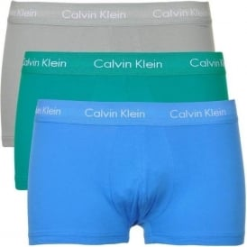 Cotton Stretch 3 Pack Low Rise Trunk, Blue/Green/Grey