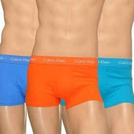 Cotton Stretch 3 Pack Low Rise Trunk, Blue/Teal/Orange